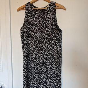 b&w print shift dress